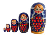 Blue toy Matryoshka Traditional blue 5 pieces T210430