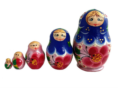 Blue, Pink toy Matryoshka Traditional blue pink 5 pieces T2104039