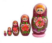 Pink, Purple toy Traditional matryoshka burgundy 5 pieces T2004022