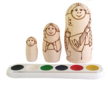 No color toy Matryoshka to paint 3 pieces T2104008