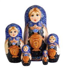 Blue toy Blue matryoshka with 5-piece samovar T2104010