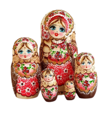 Brown, Pink toy Russian dolls pink 5 pieces - Russian crafts T2104042
