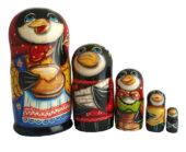 "Black, White toy Nesting doll - ""Magpie"" T2104046"
