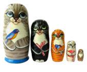 Gray toy Matryoshka - Cat  T2104043