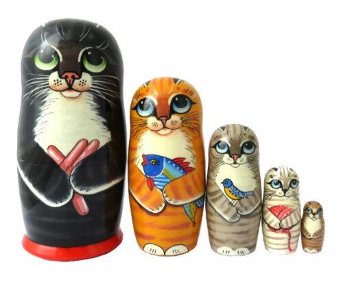 Black toy Matryoshka - Cat T2104044