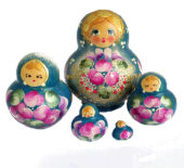 Blue toy Nesting dolls - Flowers 5 pieces T2104004
