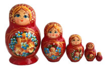 Red toy 5 pieces red nesting doll T2104036