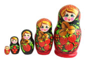 Red toy Traditional Russian doll 5 pieces - Khokhloma T2104035