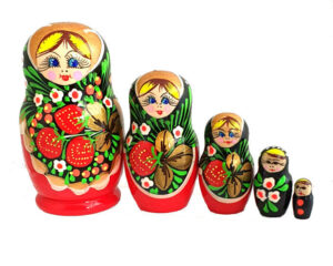 Red toy Traditional Russian doll 5 pieces - Khokhloma T2104031