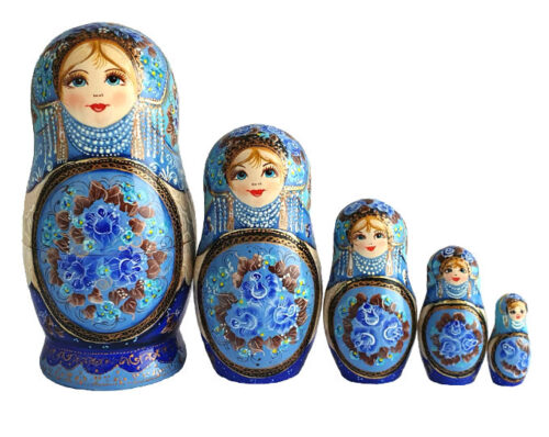 Blue toy Russian traditional blue doll with flowers 5 pieces T2104015