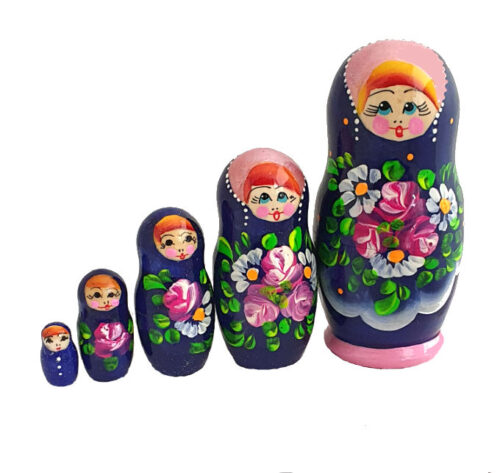 Blue, Pink toy Traditional red matryoshka 5 seats T2104021