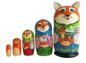 Orange toy Wooden russian nesting doll - Fox T2104053
