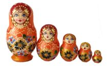 Orange toy Traditional orange matryoshka 5 pieces T2104029