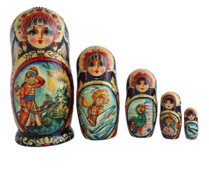 Blue, Green, Red toy Russian wood nesting doll 2104058