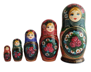 Black, Green, Red toy Traditional Russian doll with flowers 5 pieces T2104014