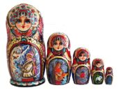 Blue, gold, Red toy Nesting dolls -Popular Conta - Snow Maiden T2104069