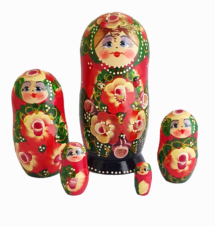 Red toy Russian dolls with ladybug T2105021