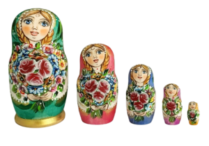 Green toy Matryoshka green 5 pieces - Summer colors T2105032