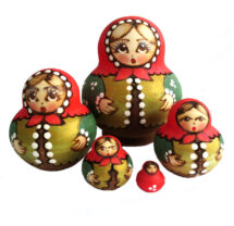 Brown, Green, Red toy Nesting doll - Traditional costume T2105010