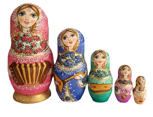 Pink toy Nesting dolls - Musical family 2105018
