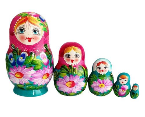 Blue, Pink toy Pink-blue matryoshka with daisies T2104087