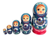 Blue, Red toy Hand Painted Russian Matryoshka Russian Doll T2104084