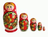 Red toy Russian doll 5 pieces with red strawberries T2105014