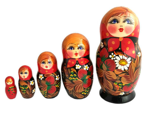 Black, Red toy Russian doll-Traditional-5-pieces-The-Strawberries T2105006
