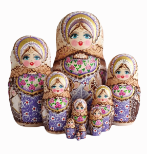 Brown, Purple toy Traditional nesting doll performed by Tatyana Rusanova T2105031