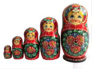 Red toy Traditional red matryoshka 5 pieces T2105025