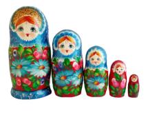 Blue, Red toy Poupée russe bleu - rouge - Margarites T2105005