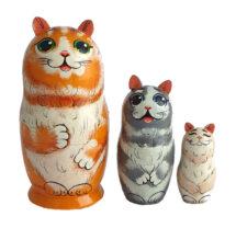 Orange toy Russian wooden nesting doll - Cat T2106009