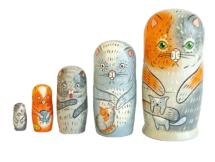 Grey, Orange toy Matryoshka - Cats T2106007
