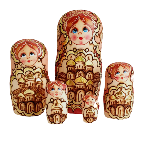 Brown toy Nesting dolls -Pyrography on wood T210701