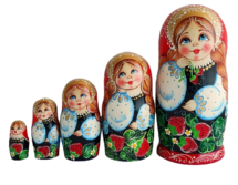 Black, Red toy Nesting doll 5 pieces T2107003