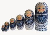 Blue, White toy Nesting dolls White blue 7 pieces280901