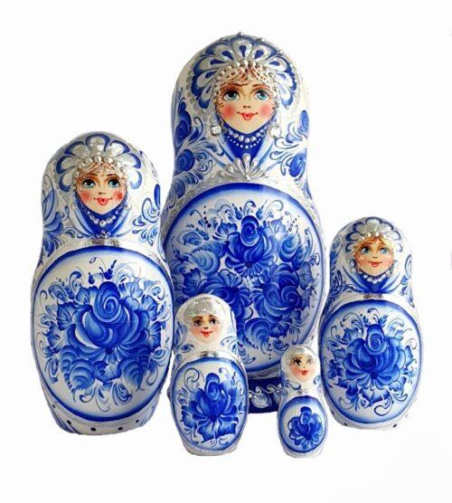Blue, White toy Matryoshka white blue 5 pieces T2110002