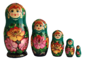 Green toy Nesting dolls green 5 pieces